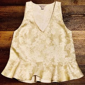 Belle+Sky Cream Gold Floral Peplum Sleeveless Top